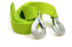 Green tow rope with hooks Royalty Free Stock Image