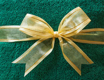 Green towel with bow Royalty Free Stock Image