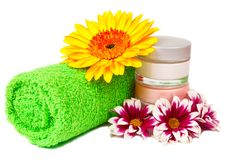 Green towel cream gerbera Stock Photography