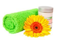 Green towel cream gerbera Royalty Free Stock Photos