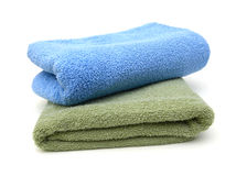 Green towel rolls Stock Photo