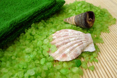 Green towel, shells and salt on a straw mat Royalty Free Stock Images