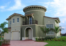Green Tower House. Mediterranian Style House with a Spiral Staircase in Miami, Florida Royalty Free Stock Image