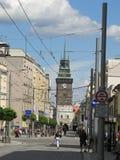 The Green Tower Zelená brána and třída Míru street in Pardubice, Czech republic. The Green tower Green gate - symbol of Pardubice and tří stock photo