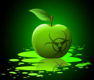 Green toxic apple with biohazard Stock Images