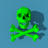 Green toxic skull  illustration. Green toxic skull with bones low poly illustration Royalty Free Stock Images