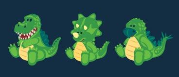 Green toy baby dinosaur set vector illustration
