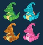 Green toy baby dinosaur set royalty free illustration