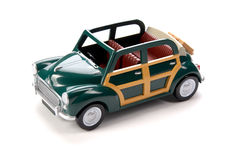 Green toy car isolated on a white background. Toy Stock Image