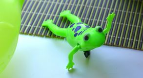 Green toy frog royalty free stock image