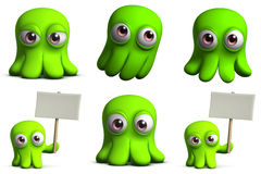 Green toy octopus. 3d cartoon cute green octopus toy Royalty Free Stock Images