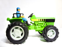 Green toy tractor Royalty Free Stock Images