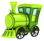 Green toy train. Isolated on white background Royalty Free Stock Photos