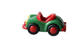 Green toys car in plastic Stock Image