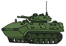 Green track armoured vehicle. Hand drawing of a green track armoured vehicle - not a real model Royalty Free Stock Image