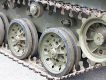 Green tracks of russian tank closeup view from front Royalty Free Stock Photo