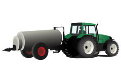 Green tractor with fertilizer. Vector illustration of a green tractor with fertilizer an agricultural machinery isolated on white background Royalty Free Stock Photography
