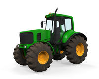 Green Tractor Isolated Stock Images