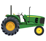 Green tractor. A side view on white background stock illustration