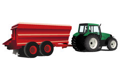 Green tractor with trailer. Vector illustration of a green tractor with red trailer an agricultural machinery isolated on white background Stock Image