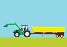 Green Tractor and Trailer Stock Photography