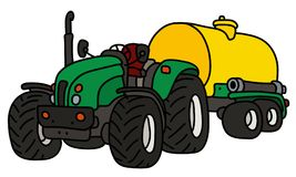 The green tractor with a yellow tank. The hand drawing of a green open heavy tractor with a yellow tank trailer Royalty Free Stock Images