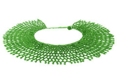 Green Traditional Beaded Neckwear, African, Isolated on White Royalty Free Stock Photos