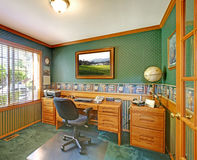 Green traditional home office. Royalty Free Stock Photo