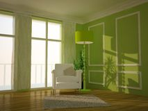 Green traditional lounge room. Modern lounge room painted green Royalty Free Stock Photos