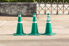 Green Traffic Cone On Street Stock Image