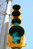 Green Traffic Light. On metal pole royalty free stock images