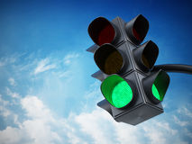 Green traffic light. Against blue sky Royalty Free Stock Images