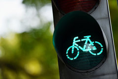 Green traffic light for bicycles Stock Photos