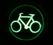 Green traffic light for bikers. At night royalty free stock photography