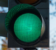 Green traffic light close up Royalty Free Stock Photos