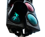 Green Traffic Light. Close up of a traffic light with green pedestrian light on Stock Image