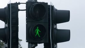 Green traffic light at crossroads, grant permission, project accept, new startup. Stock footage stock photo