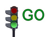 Green traffic light.  illustration. Green traffic light on white background . Go  illustration Stock Photo