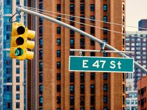 Green Traffic light in Manhattan New york City USA. Or America stock image