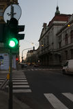 Green Traffic Light at Prague Sunset royalty free stock images