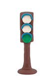 With a green traffic light signal Royalty Free Stock Images