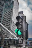 Green Traffic Light On Junction Street. Green Traffic Light A Signal For Driving To Go Forward royalty free stock image