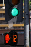 Green traffic light in the street of Reno, Nevada Stock Image