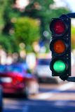 Green traffic light on the street in the summer Royalty Free Stock Image
