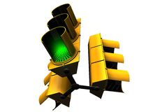 Green Traffic Light viewed from below Stock Photography