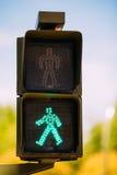 Green traffic light walk man Stock Photography