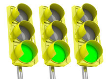 The green traffic lights Stock Photo