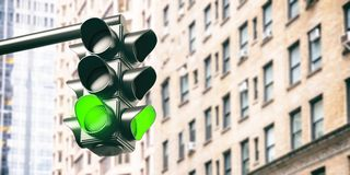 Free Green Traffic Lights For Cars, Blur Office Buildings Background. 3d Illustration Royalty Free Stock Images - 153415129