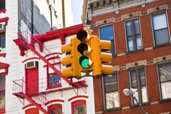 Green traffic lights in New York City Royalty Free Stock Photos