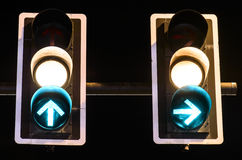 Green traffic lights on night background Royalty Free Stock Photography